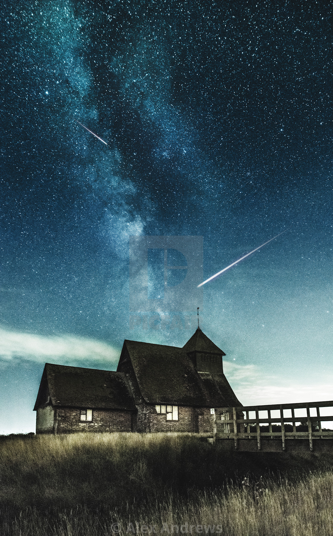"""Milky way over an old church"" stock image"