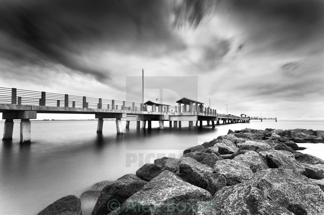 """Fort De Soto Pier - Black & White"" stock image"