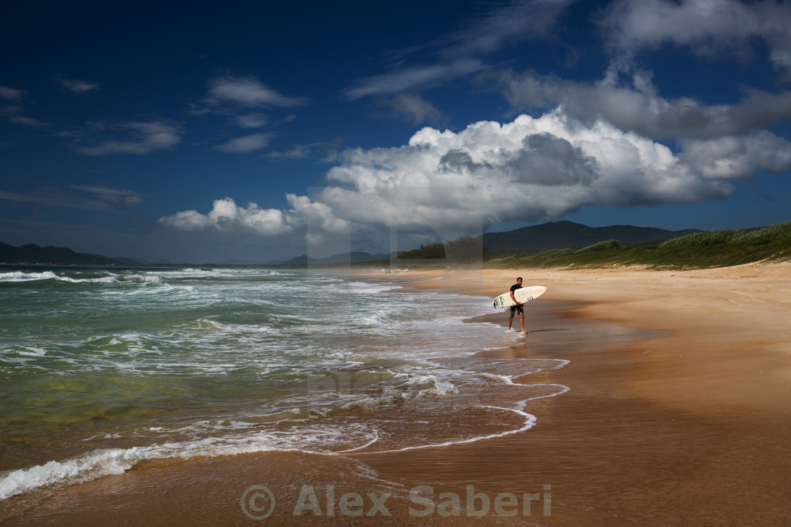 """""""A surfer makes his way out of the ocean on praia da Mocambique beach during the day on Florianopolis island in Santa Catarina state, Brazil."""" stock image"""
