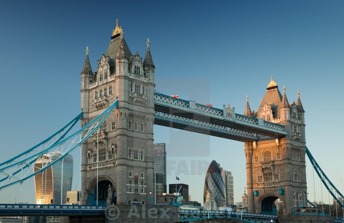 """Tower bridge in London at sunset."" stock image"