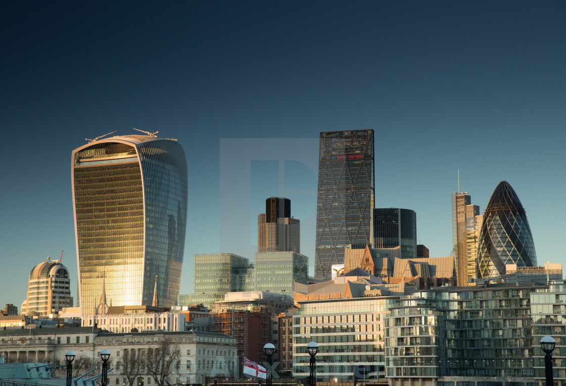 """""""London financial centre at sunset."""" stock image"""