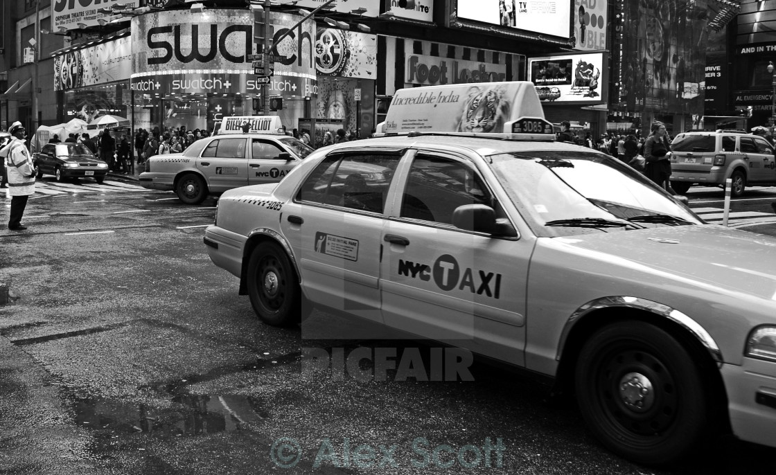 """""""Taxi on Broadway"""" stock image"""