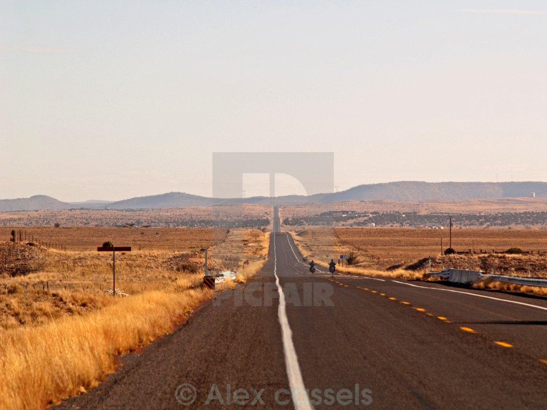"""""""Bikers on Route 66"""" stock image"""