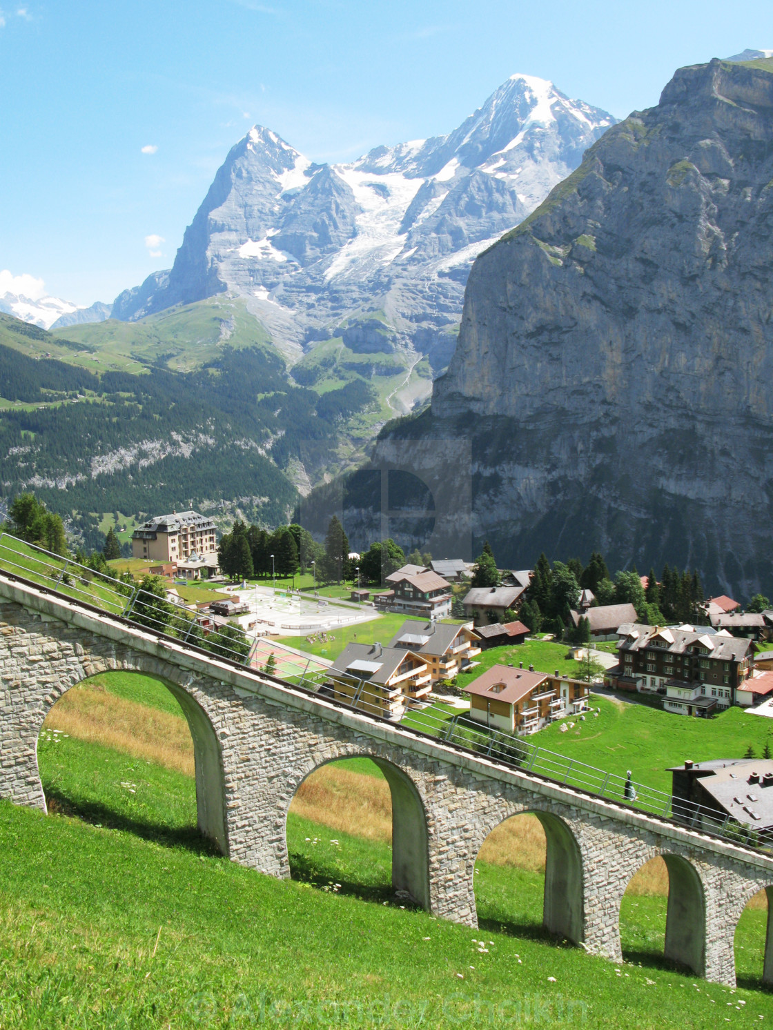 """Muerren, famous Swiss skiing resort"" stock image"
