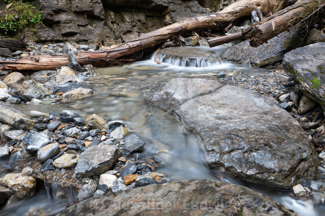 """Bodies of water, small creek with rocks"" stock image"