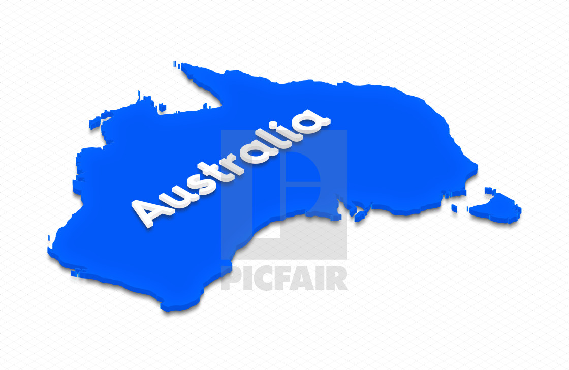 Free 3d Map Of Australia.Map Of Australia 3d Isometric Illustration License Download Or