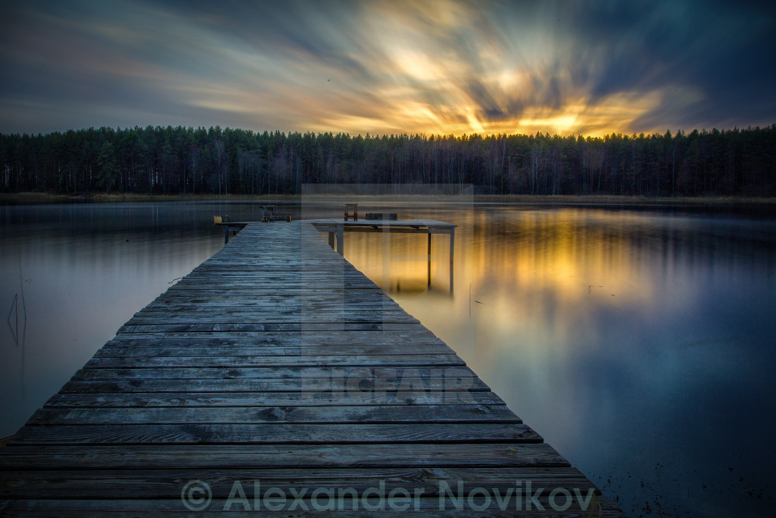 """Sunrise on the lake"" stock image"