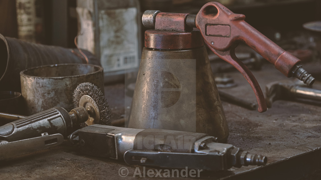 """Mechanic's workshop things"" stock image"