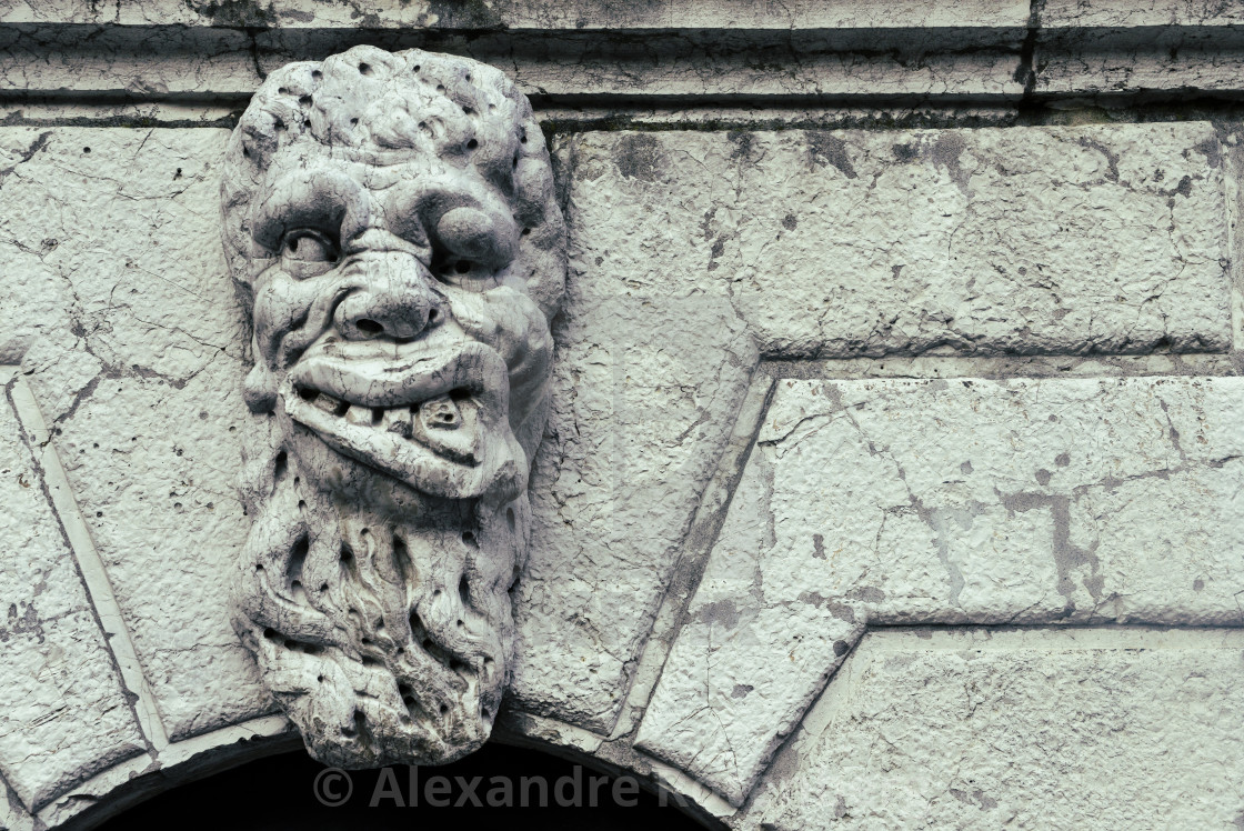"""""""Grotesque Face of a monster sculpture on a Church in Venice"""" stock image"""