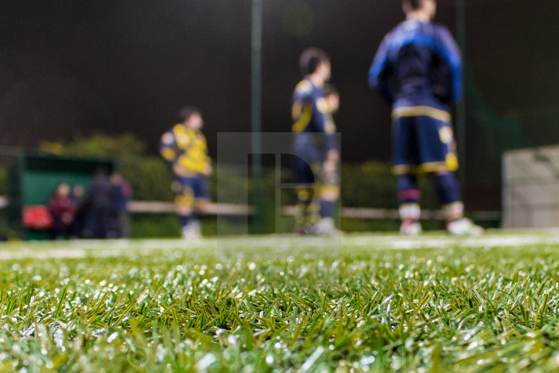 """soccer team in the background listening to coach."" stock image"