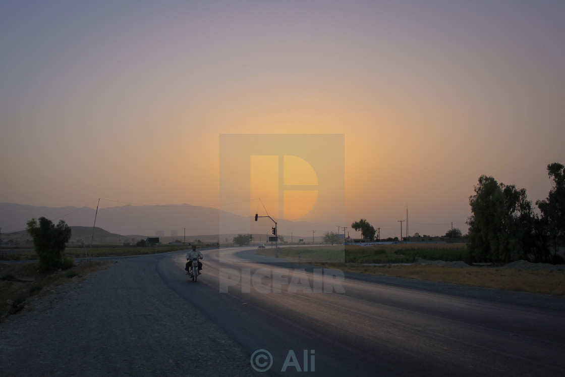 """Motorbike on the road"" stock image"