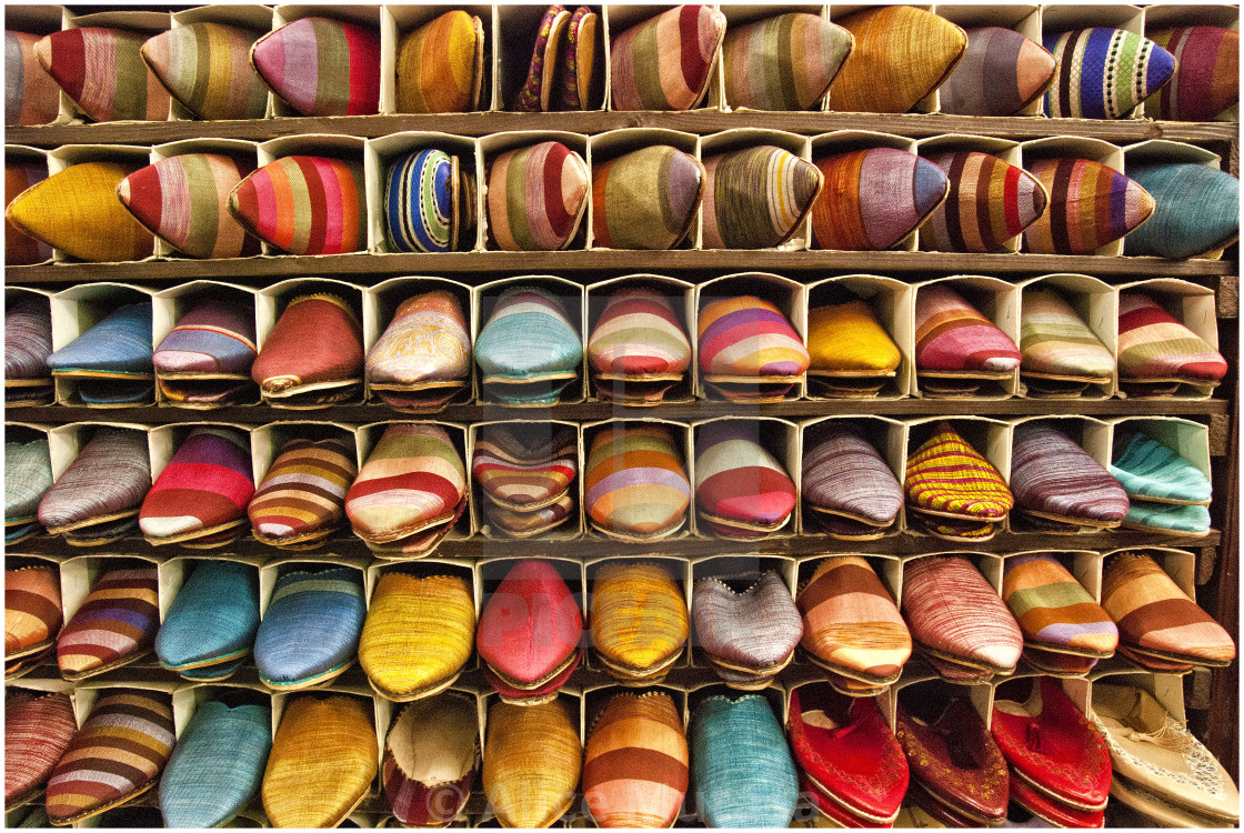Slipper souk; Marrakech, Morocco, North Africa