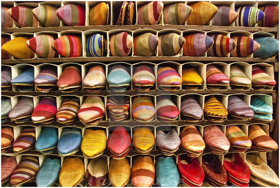 """Slipper souk; Marrakech, Morocco, North Africa"" stock image"