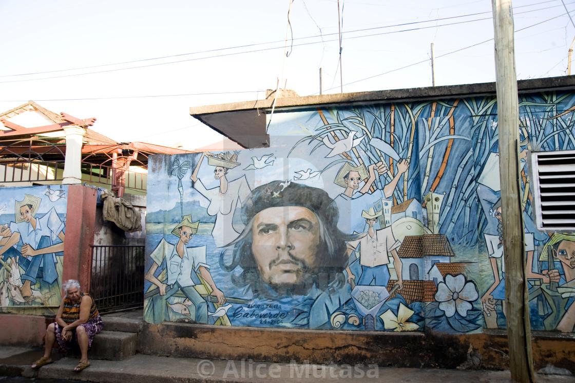"""""""Che mural; Baracoa, Cuba"""" stock image"""