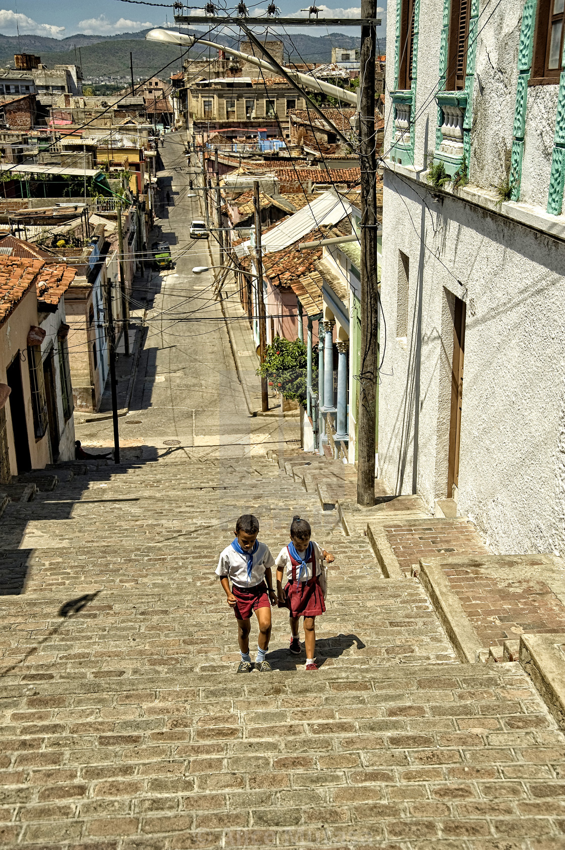 """""""Steps of Calle Padre Pico, Santiago De Cuba"""" stock image"""