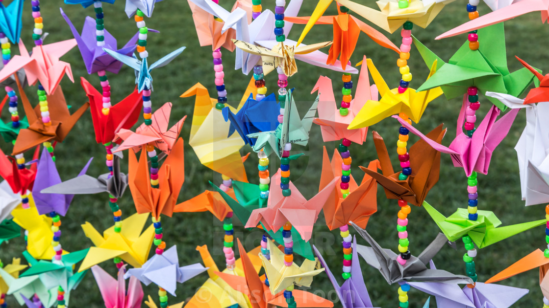 Colorful Garlands Of Japanese Origami Cranes - License, Download