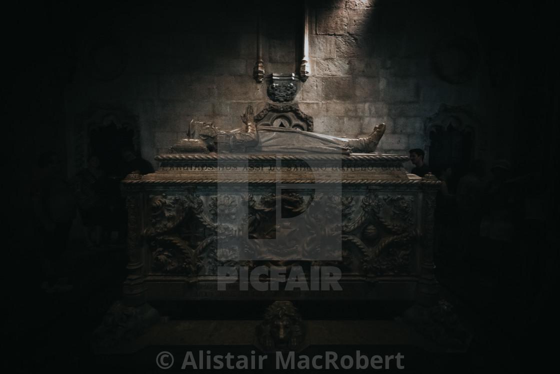 """Vasco de Gama Tomb at Santa Maria de Belem"" stock image"