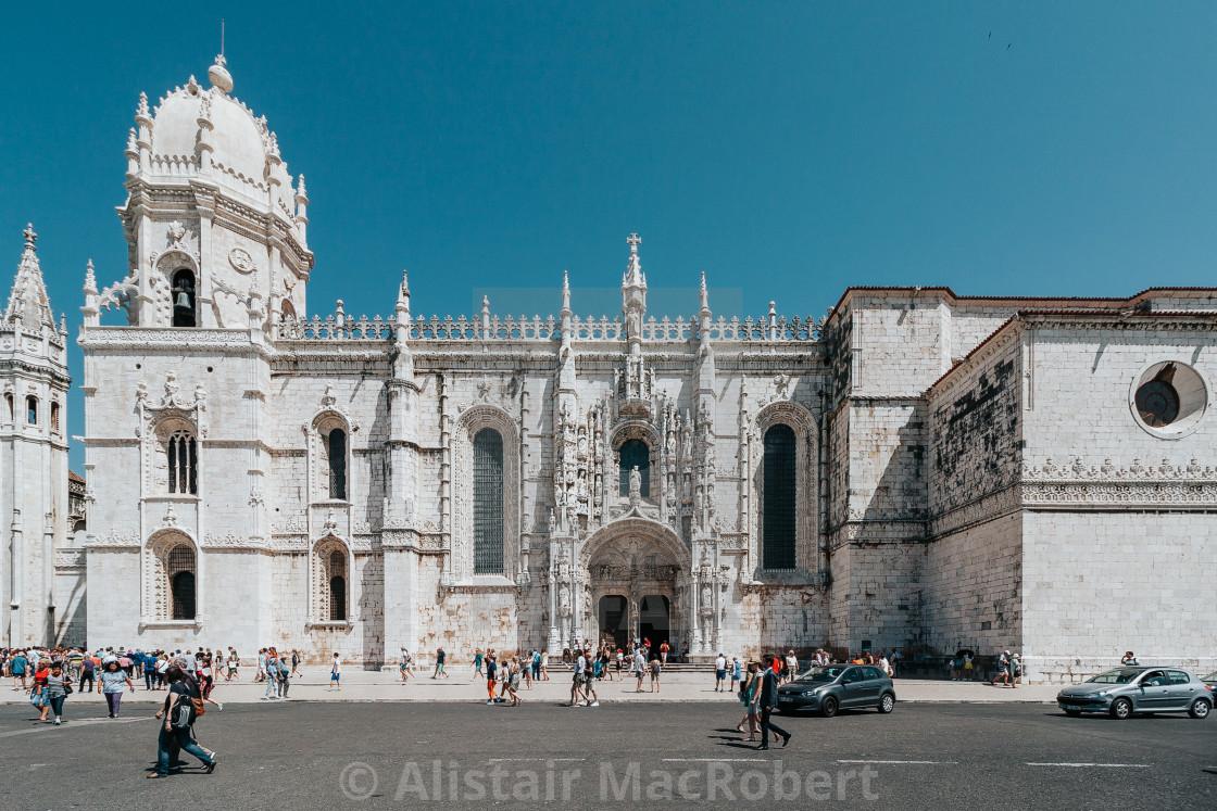 """Street Scene at Santa Maria de Belem Church, Lisbon"" stock image"