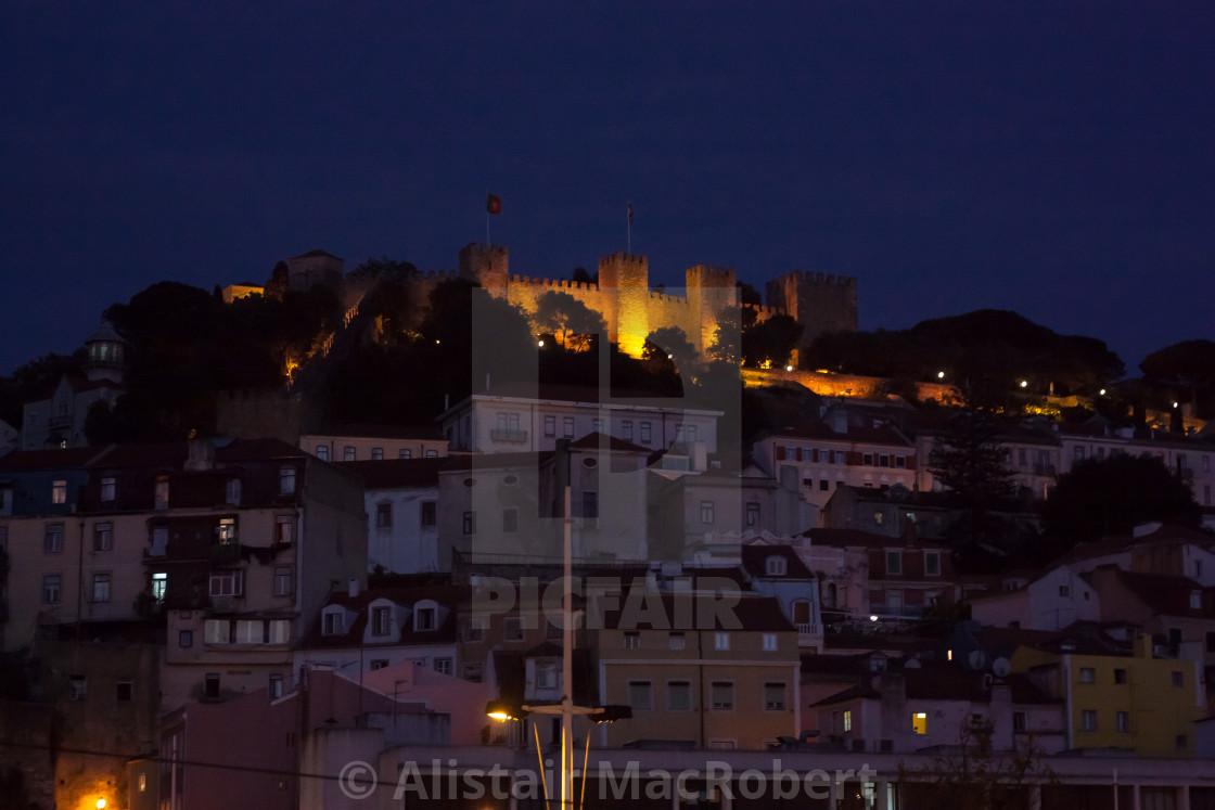 """""""Castelo de São Jorge at night"""" stock image"""