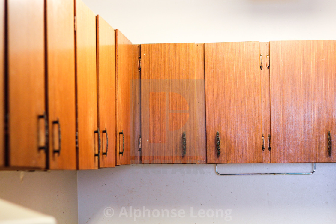 """""""old kitchen cabinets in old house"""" stock image"""