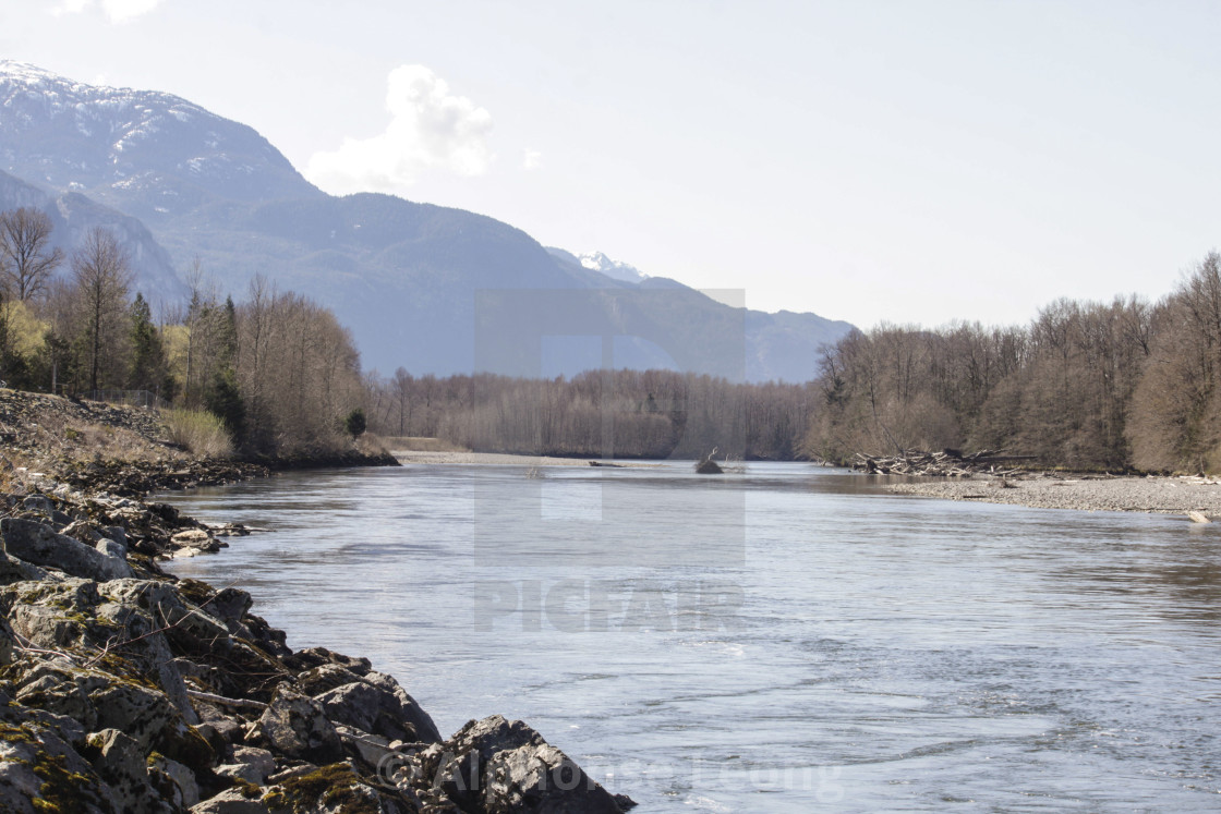"""Squamish River on beautiful spring morning"" stock image"