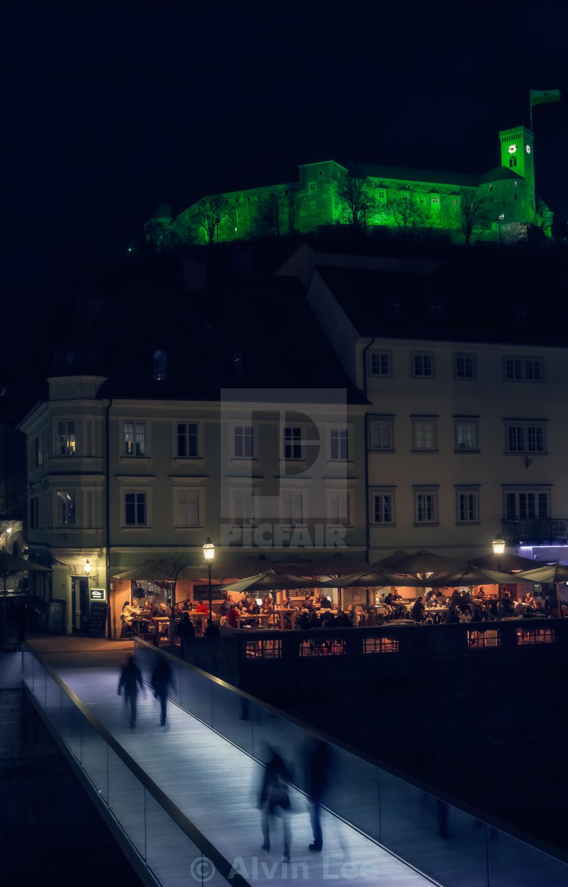 """""""Night out in Ljubljana"""" stock image"""