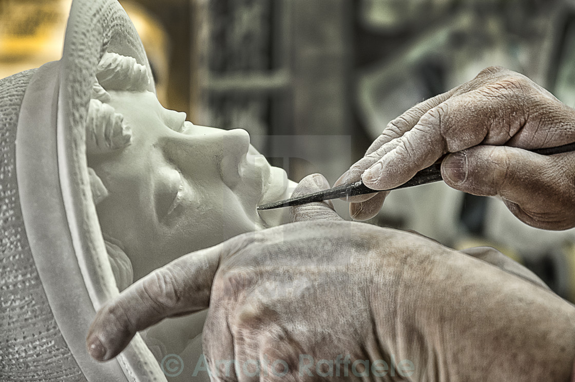 """Alabaster sculpture Volterra village (Italy)"" stock image"