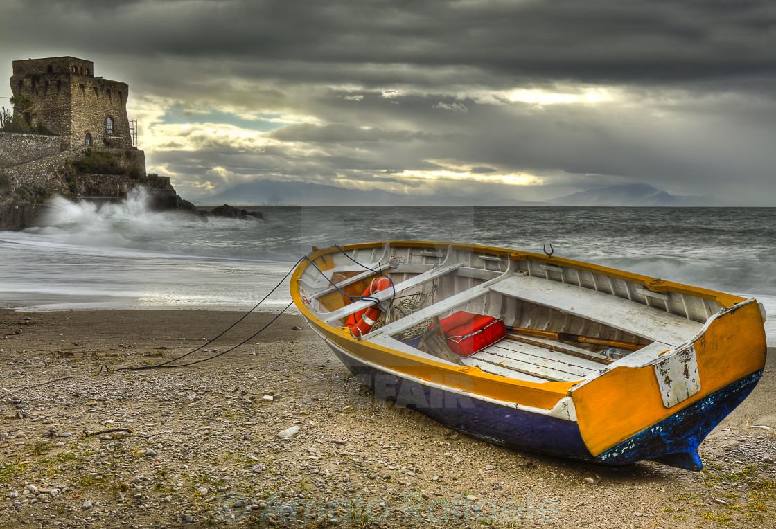 """Erchie famous beach of Amalfi coast"" stock image"