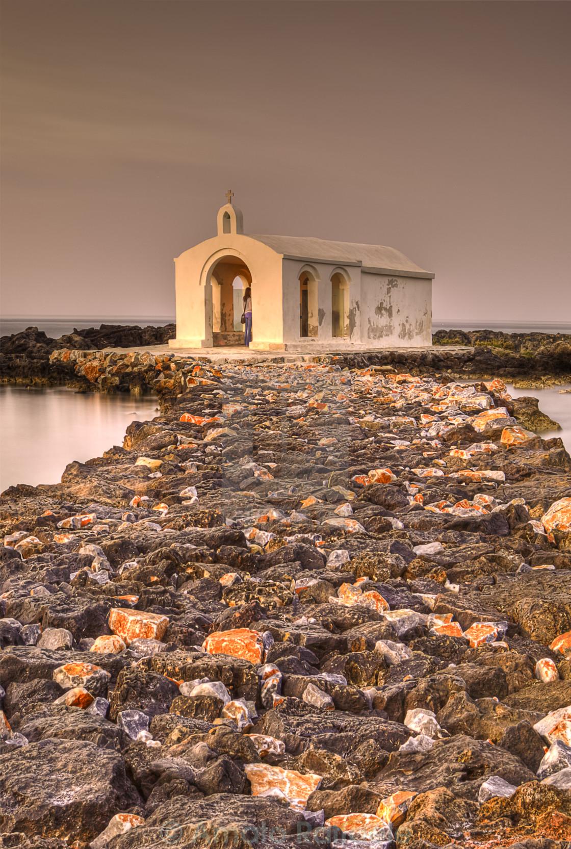"""Agios Nicholaos Church Crete island sunset"" stock image"