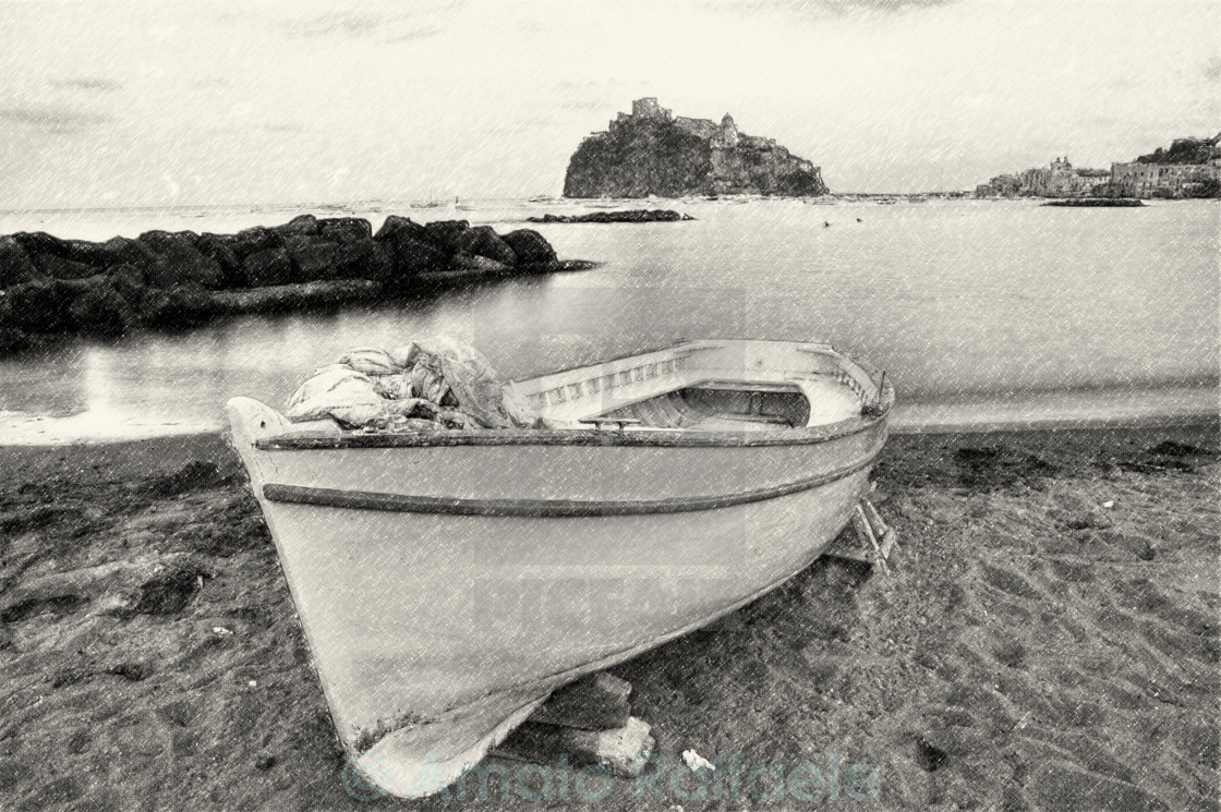 """Aragonese Casle (Ischia Island) view beach old prison at sunset"" stock image"