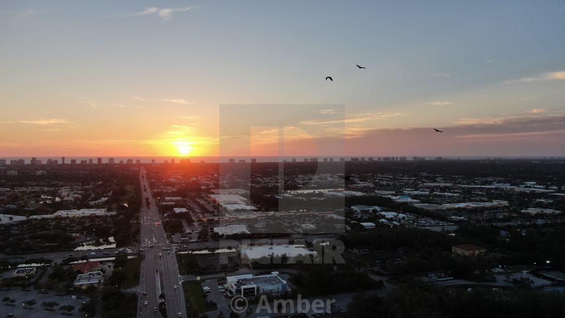 """""""Beautiful drone sunset"""" stock image"""