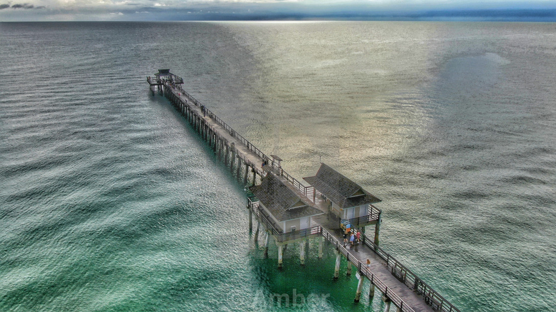 """""""Drone Aerial Of Naples Fishing Pier"""" stock image"""