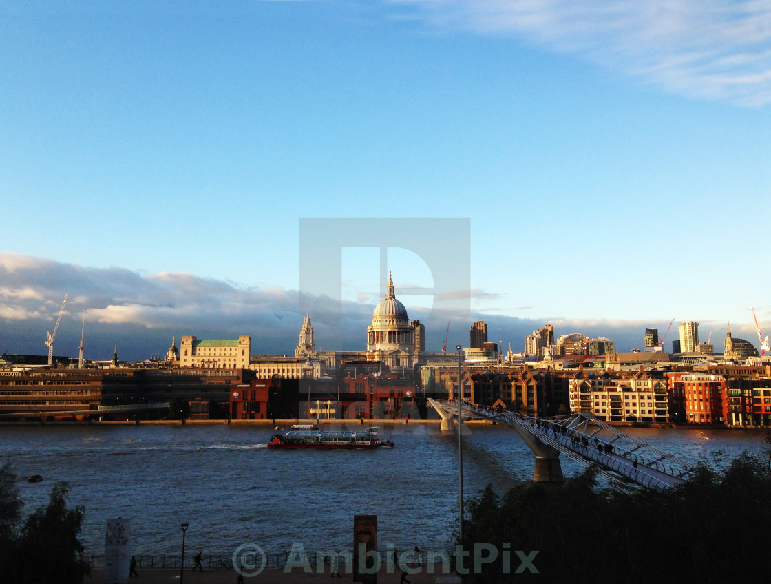 """St Paul's Cathedral from Bankside"" stock image"