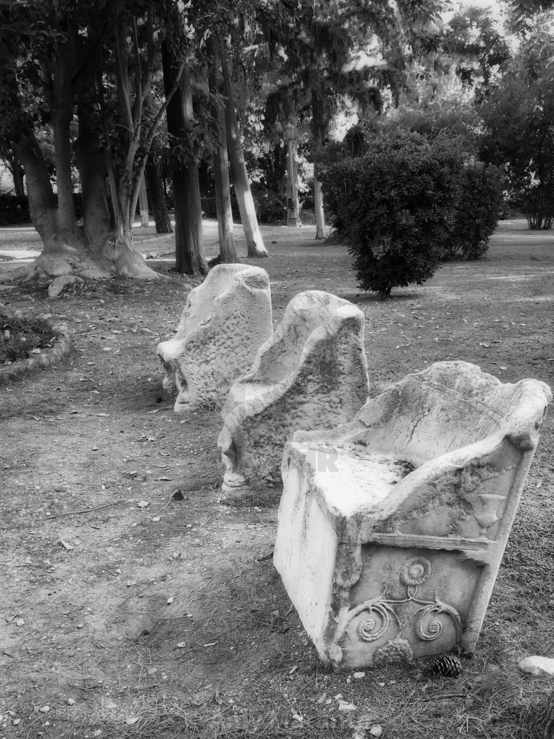 """""""Stone Benches in the Park"""" stock image"""