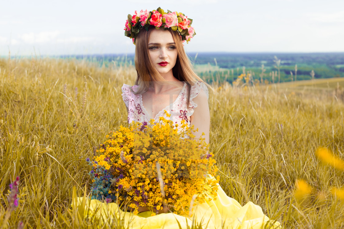 Kết quả hình ảnh cho a bright girl in the field of flowers