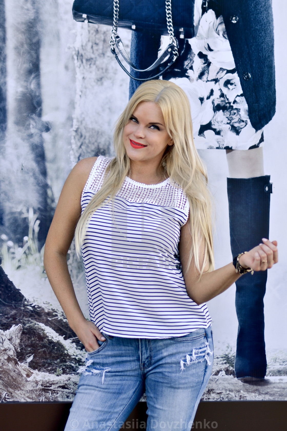 Fashionable Expert In Fashion Industry And World Posing Blonde Beautiful Attractive Model On The Colorful Wallpaper Background Happy Cheerful Smiling Pleasant Looking Blonde Girl With Red Lips On Modern Background License Download Or Print For