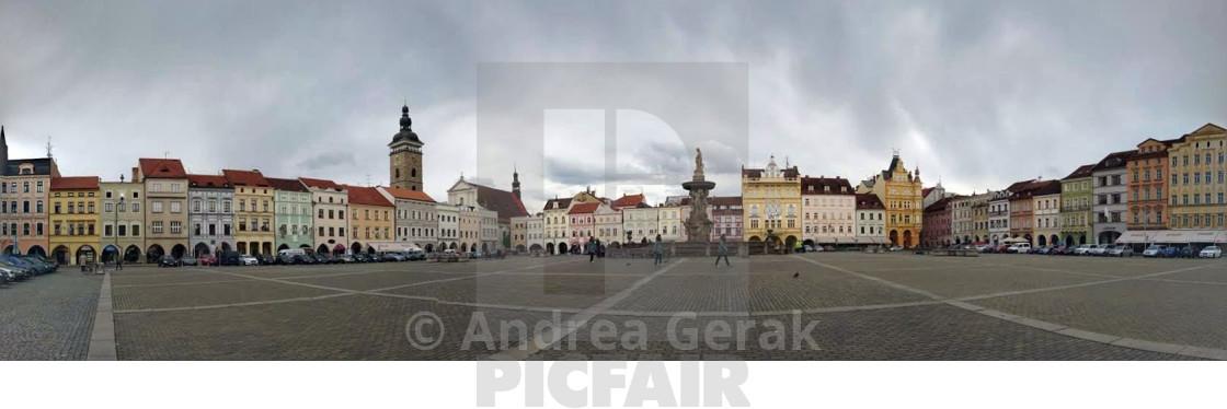 Ceske Budejovice main square panorama