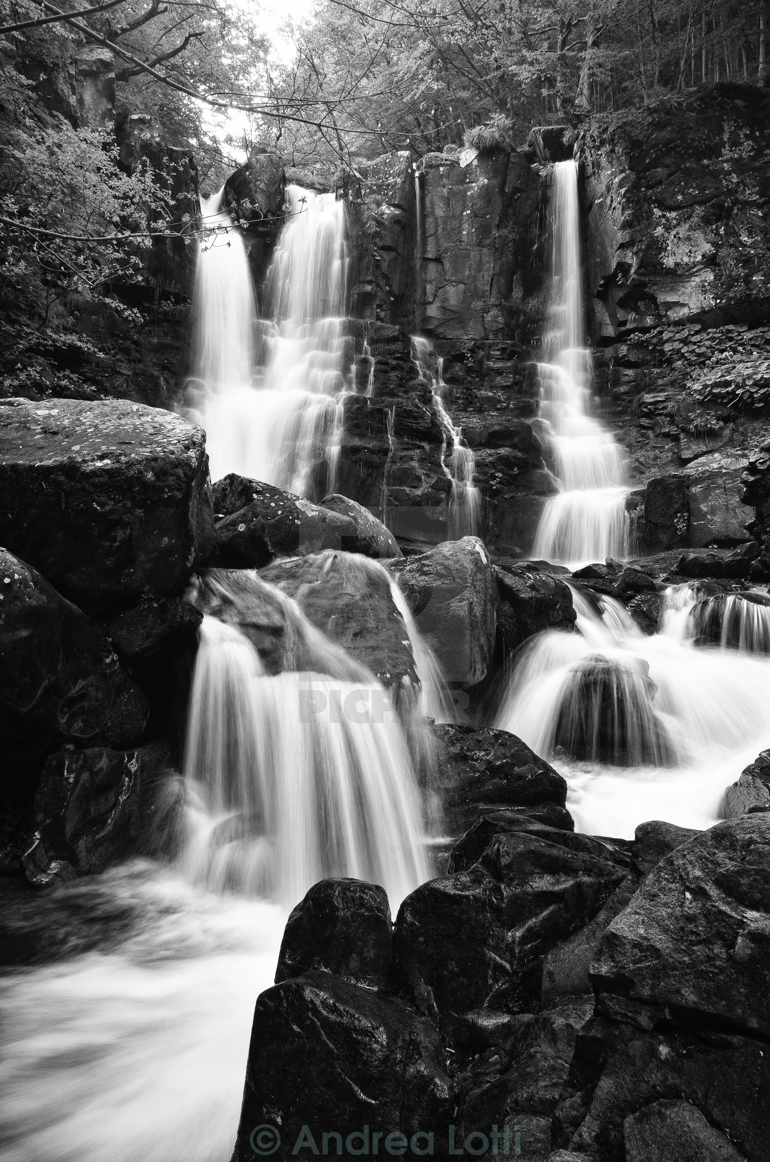 """Dardagna' s waterfall"" stock image"