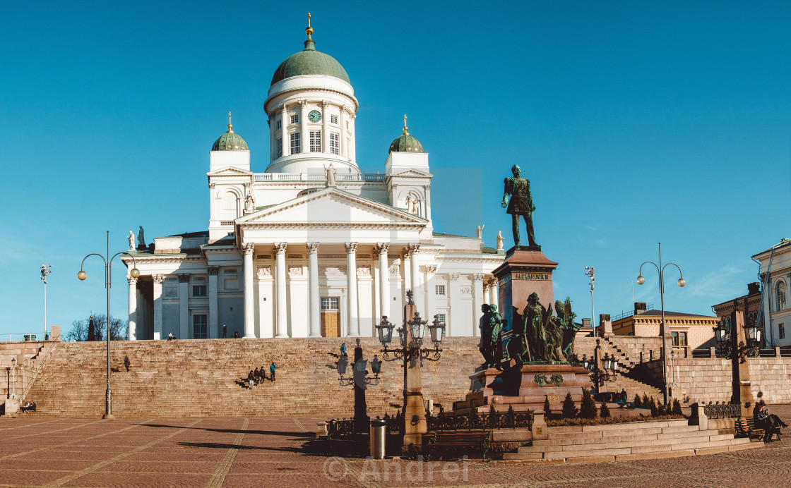 """""""Lutheran Cathedral and A monument to Alexander II on the Senator"""" stock image"""