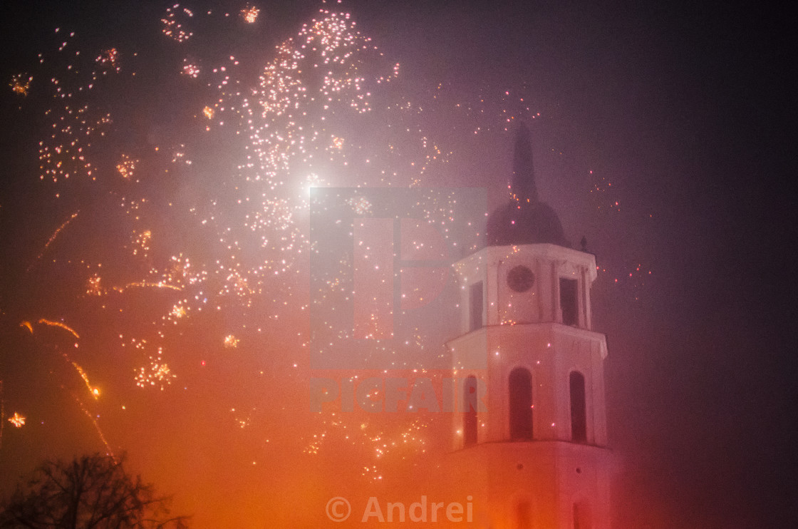 """New Year Celebration and Christmas in Vilnius with fireworks"" stock image"
