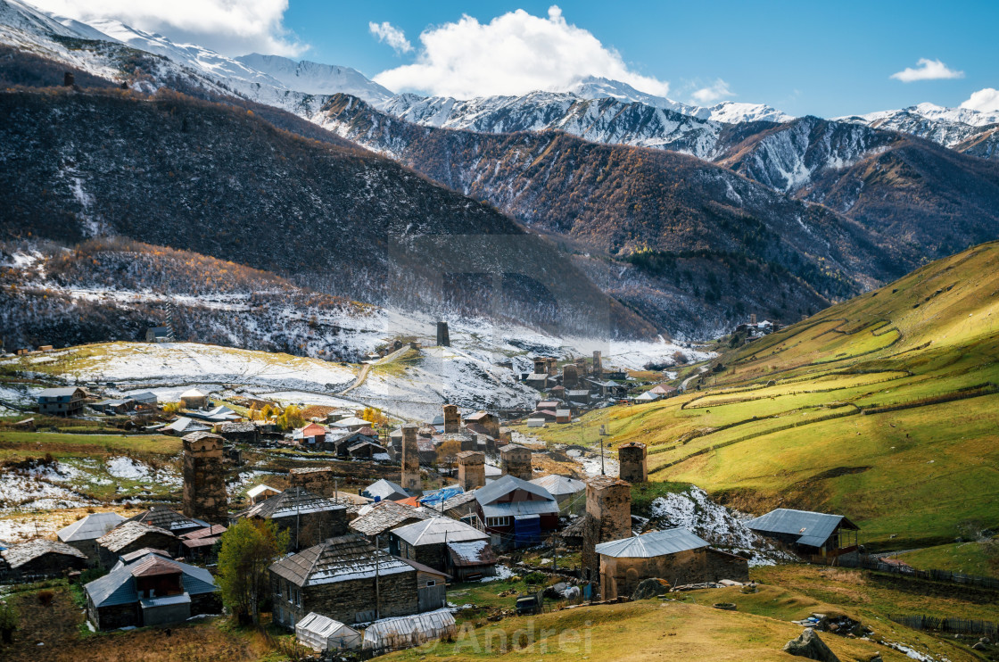 """Svan Towers in Ushguli towers, Svaneti, Georgia. Georgian landmarks"" stock image"