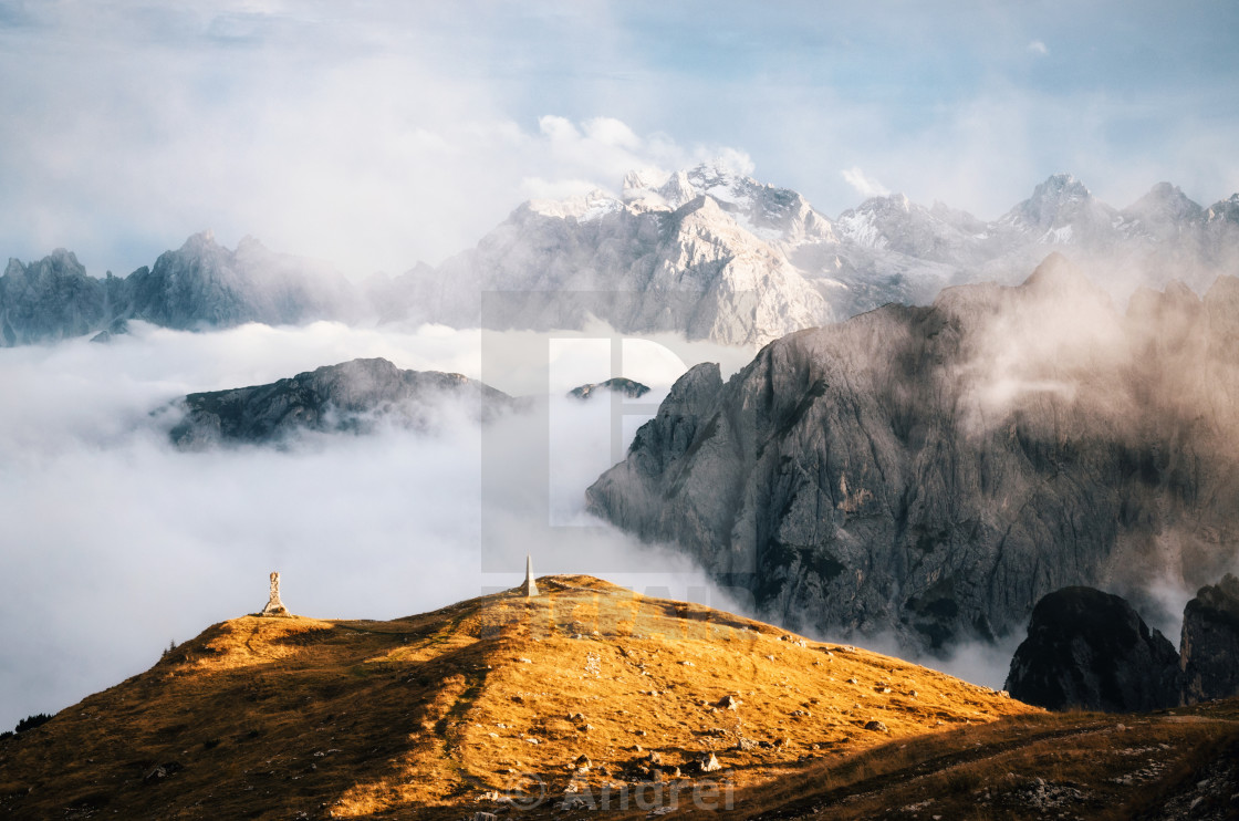 """Misty mountains in Tre Cime di Lavaredo, Dolomites, Italy"" stock image"
