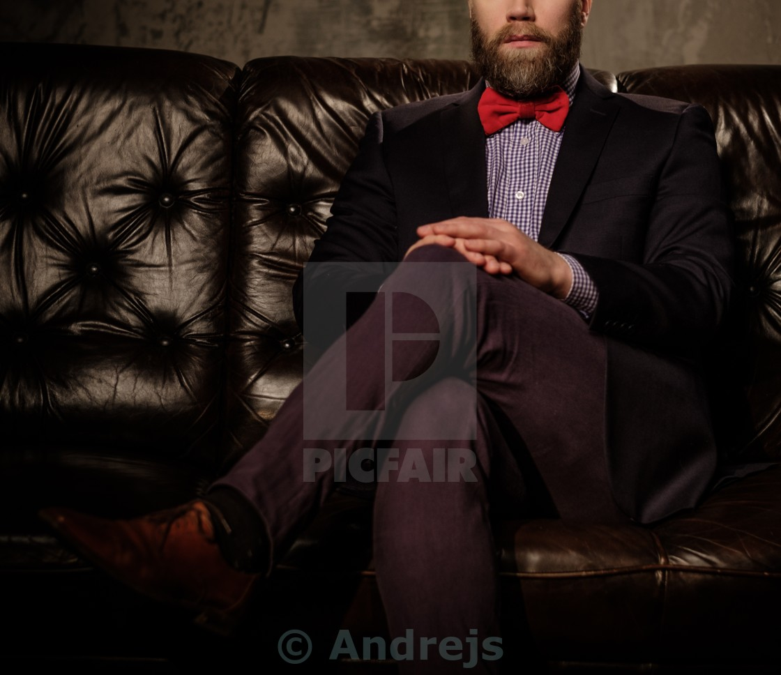 Old-fashioned bearded man sitting in comfortable leather ...