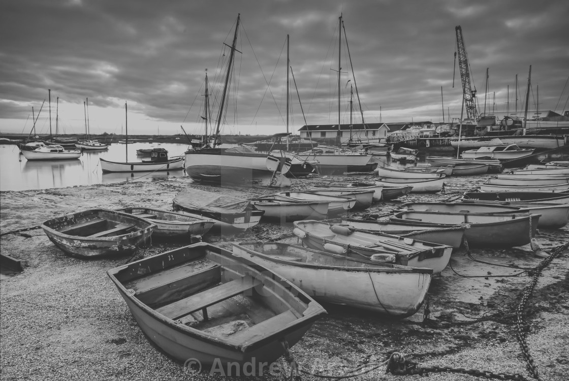 """""""Old Leigh rowing boats"""" stock image"""