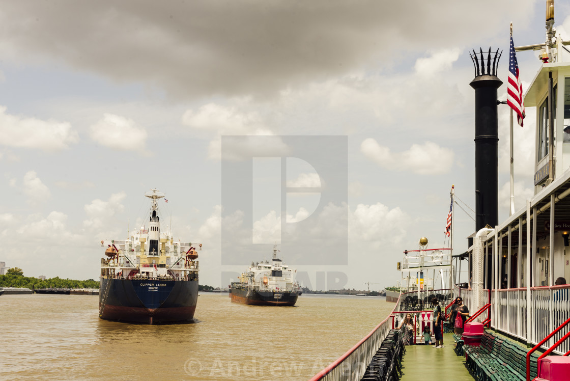"""""""Onboard the Natchez"""" stock image"""
