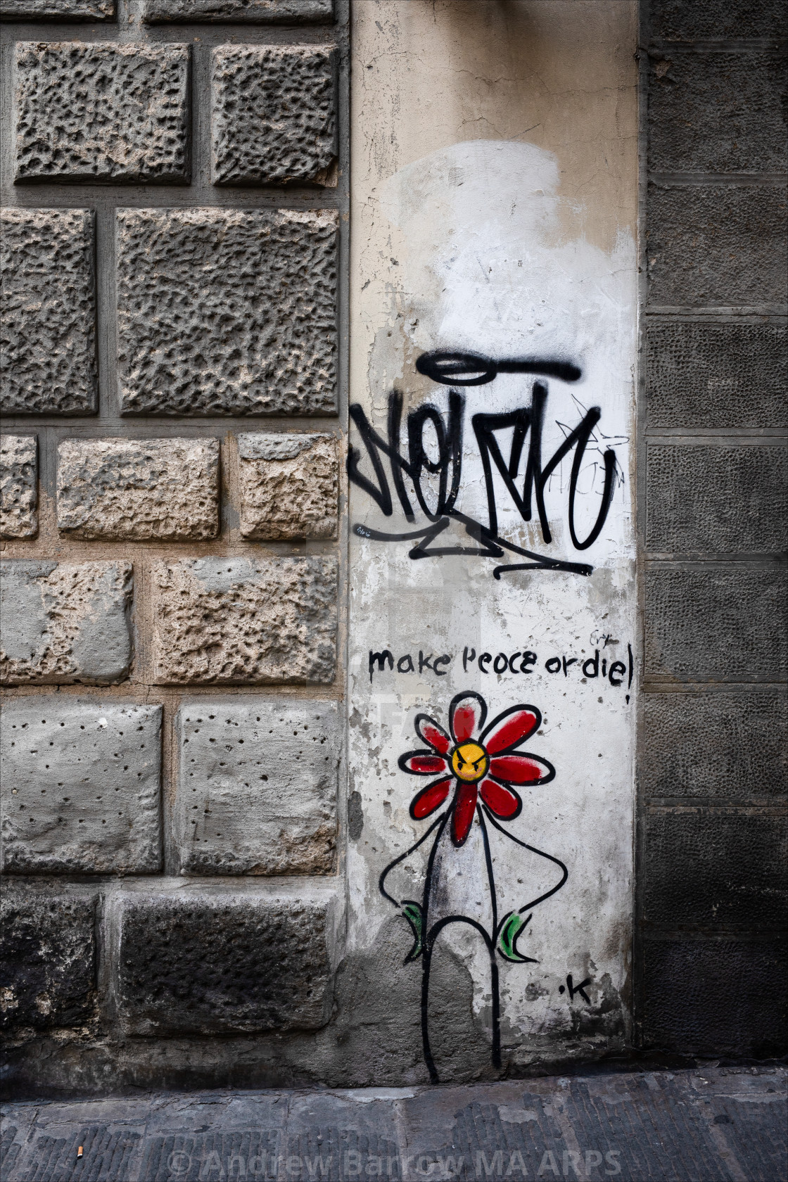 """Graffiti Flower Urban Street Art, Florence,"" stock image"
