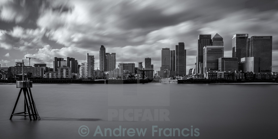 """A view across the River Thames to Canary Wharf"" stock image"