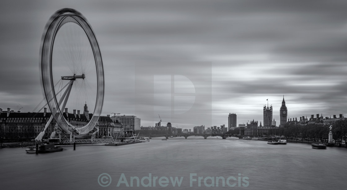 """London Eye and the Houses of Parliament"" stock image"