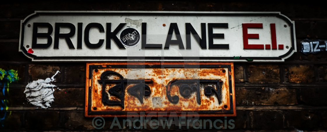 """Brick Lane Road Sign"" stock image"