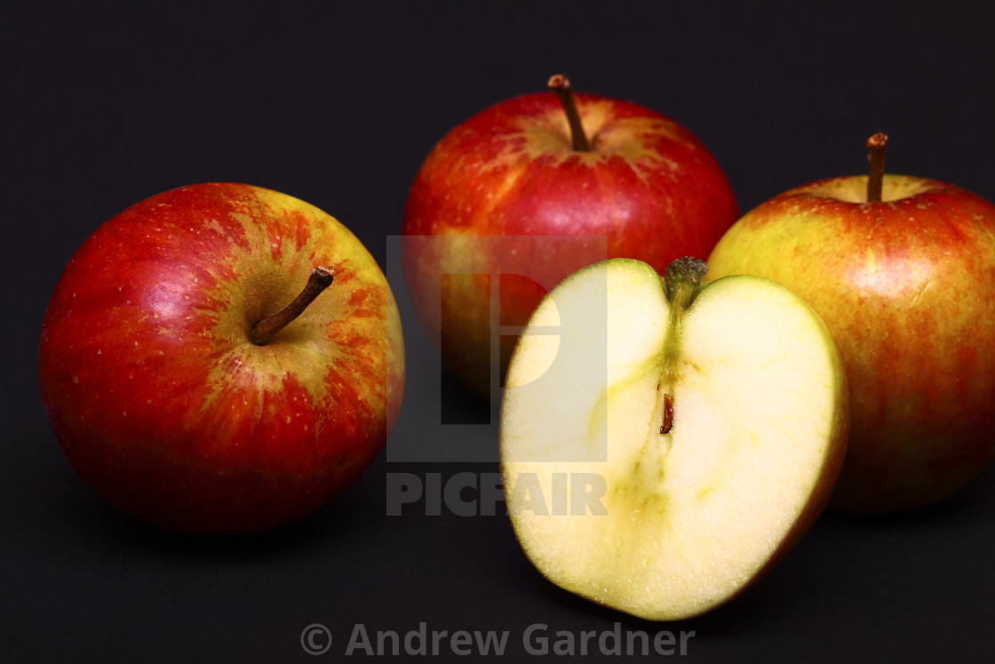 """""""Three red whole apples"""" stock image"""